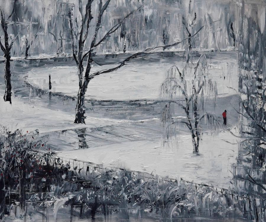 Snow Painting - Snowy Day in Boston by Karen Strangfeld