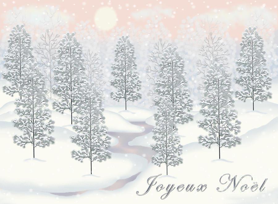 Snowy Day Winter Scene Joyeux Noel Christmas Card Digital Art by ...
