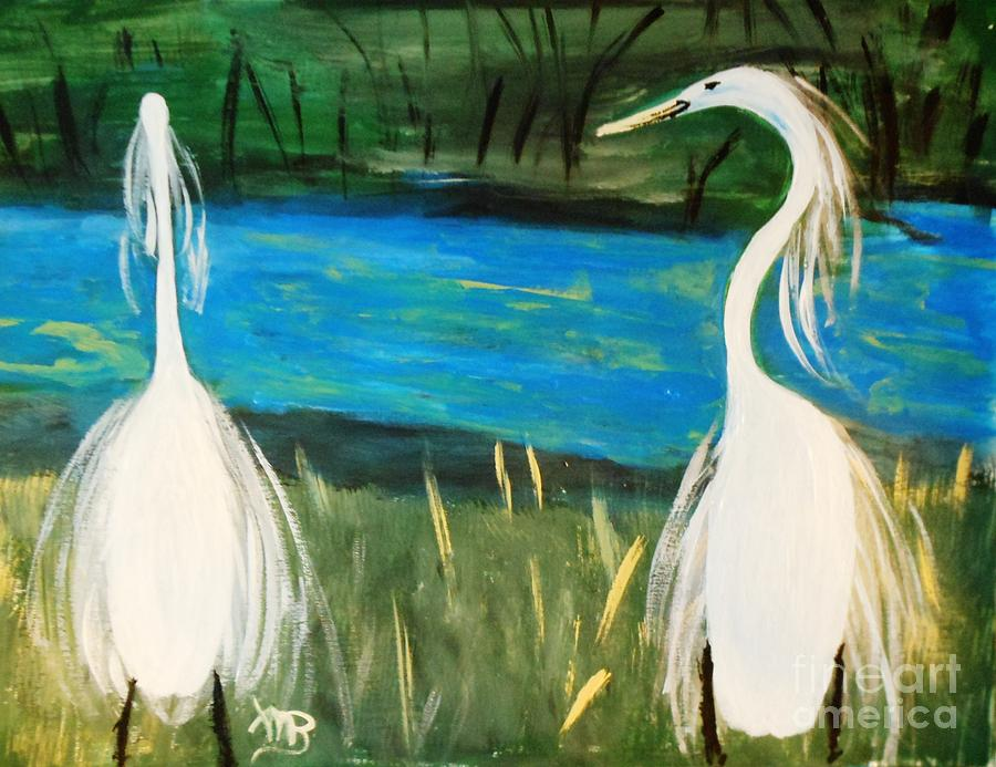 Birds Painting - Snowy Egrets At The Pond by Marie Bulger