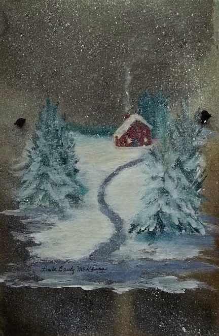 Winter Scene Painting - Snowy Evening by Linda McKenna