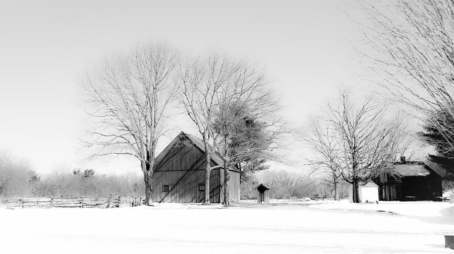 Landscape Photograph - Snowy  Glow on the Farm by Linda C Johnson