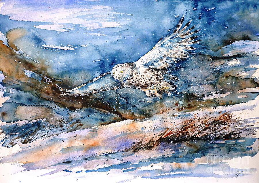 Snowy Owl Painting - Snowy Guard by Zaira Dzhaubaeva