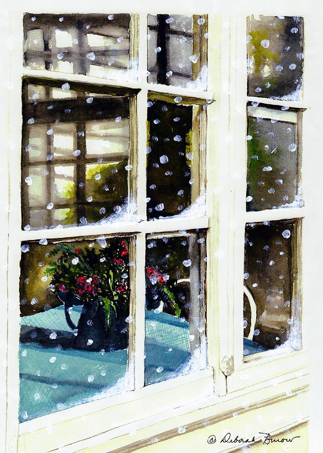Snowing Painting - Snowy Inn Window by Deborah Burow