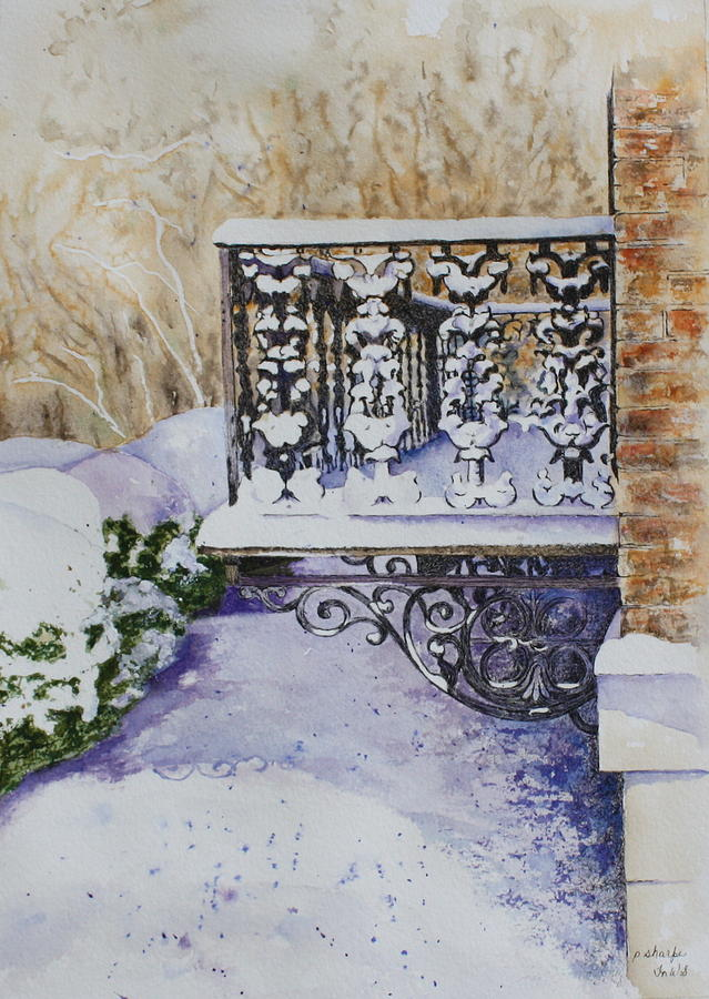 Snow Scene Painting - Snowy Ironwork by Patsy Sharpe