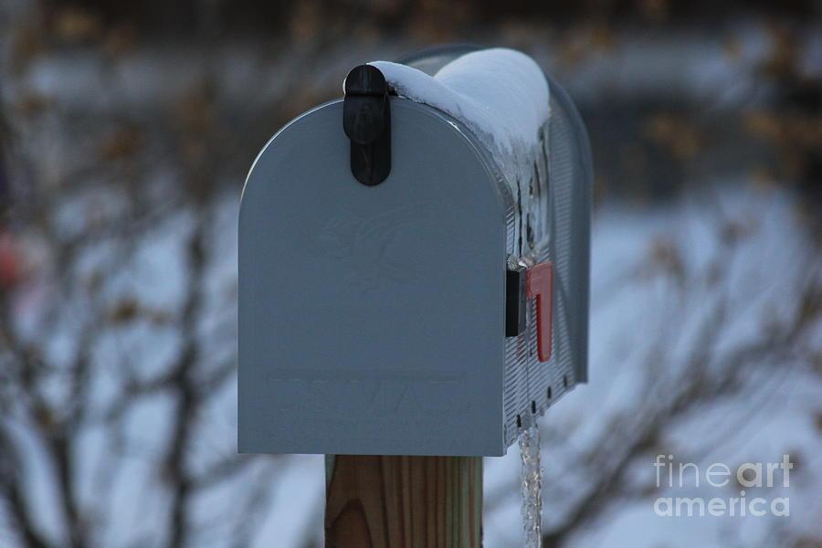 Mailbox Photograph - Snowy Kansas Mailbox by Robert D  Brozek