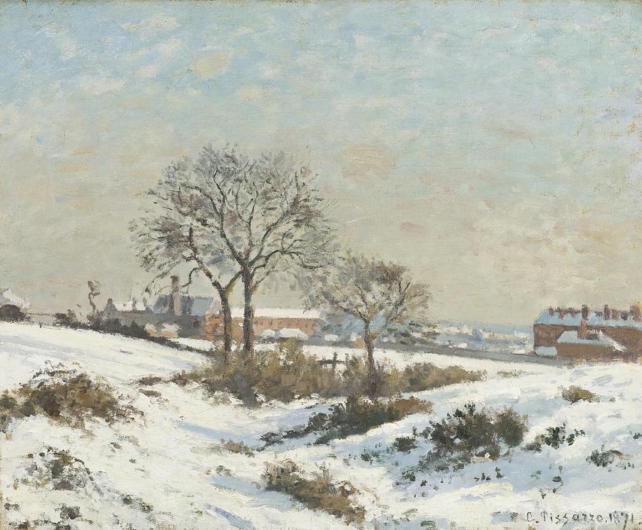 Snow Digital Art - Snowy Landscape At South Norwood by Camile Pissarro