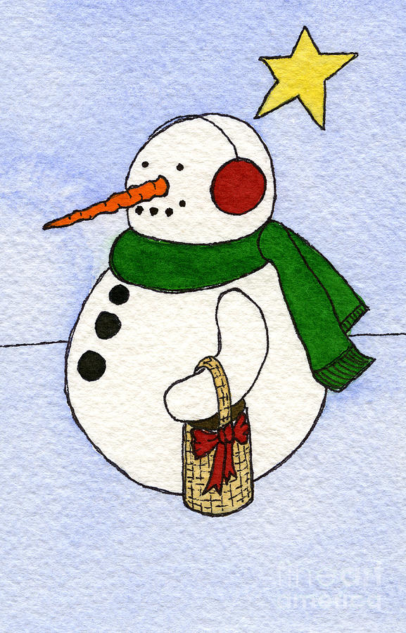 Winter Snowman Print Painting - Snowy Man by Norma Appleton