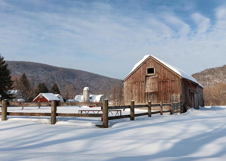 Barn Photograph - Snowy New England Barns by Bill Wakeley