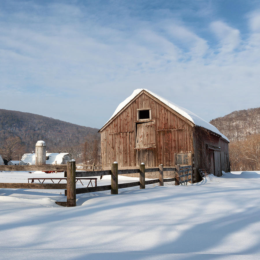 Snowy New England Barns Square Photograph By Bill Wakeley