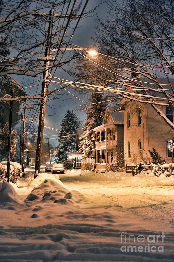 Snow Photograph - snowy night in Northampton by HD Connelly