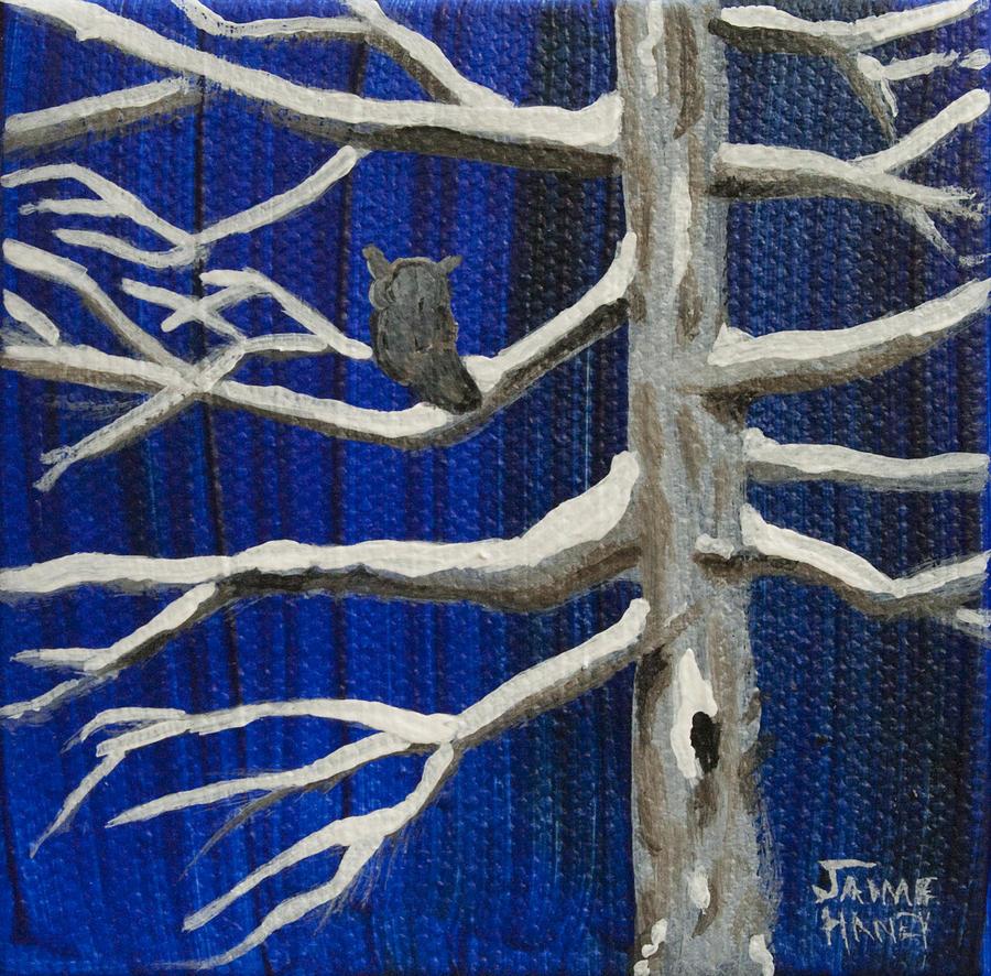 Owl Painting - Snowy Night by Jaime Haney