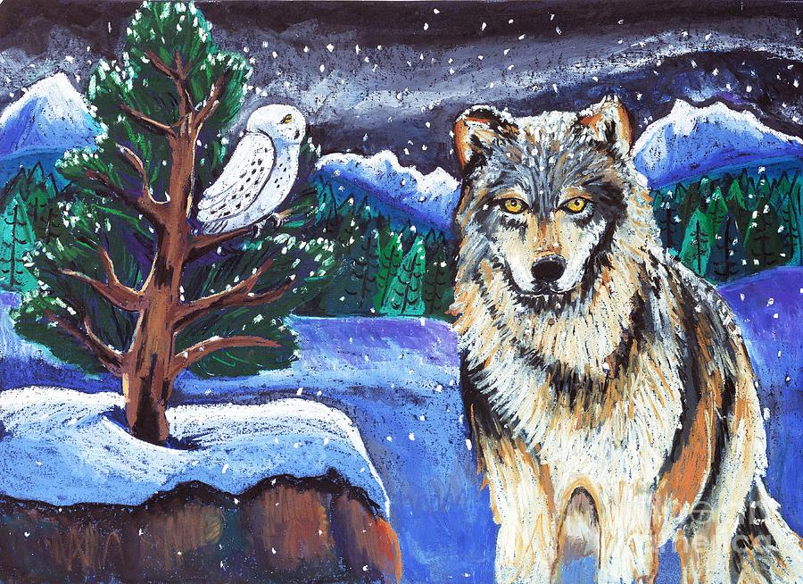 Snowy Night Wolf Painting By Harriet Peck Taylor
