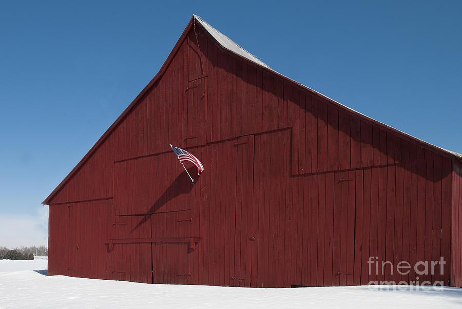 Snow Photograph - Snowy Patriotic Barn by Lauren Brice