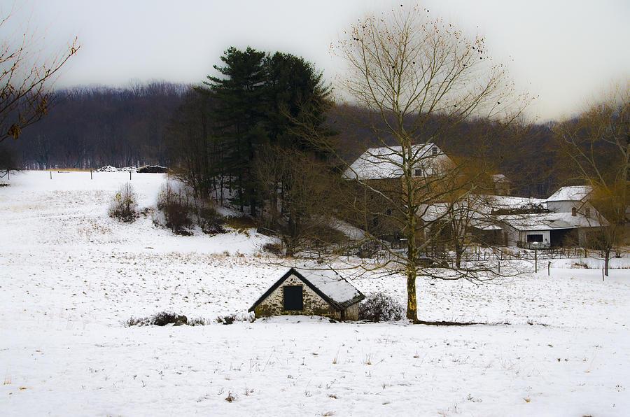 Snowy Photograph - Snowy Pennsylvania Farm by Bill Cannon
