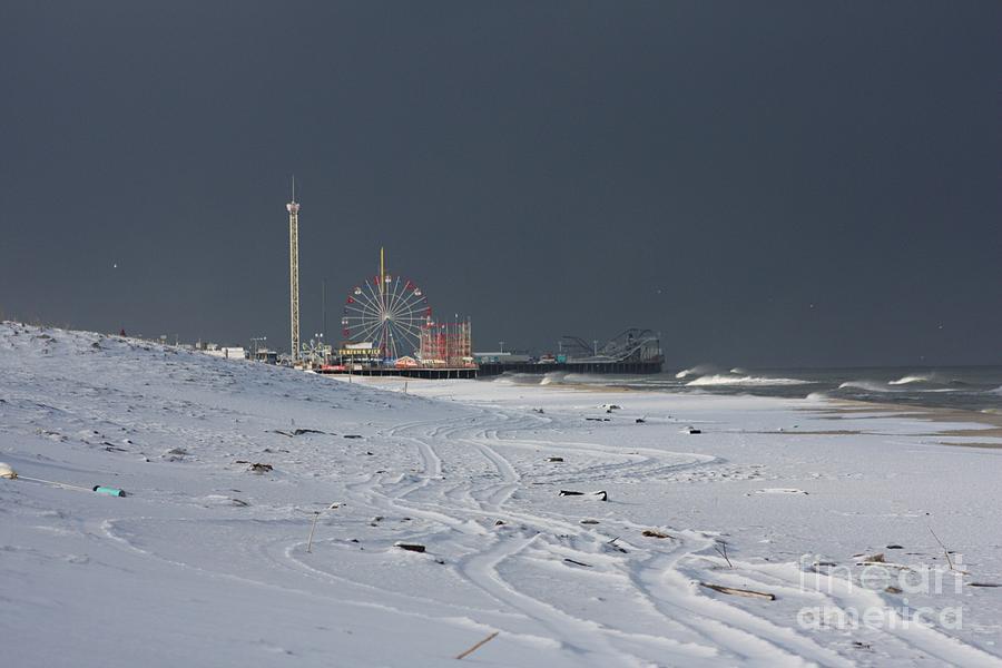 Casino Pier Photograph - Snowy Piers by Laura Wroblewski