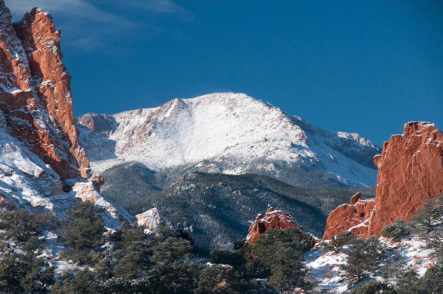 Pikes Peak Coffee >> Snowy Pikes Peak Photograph by John Hoffman