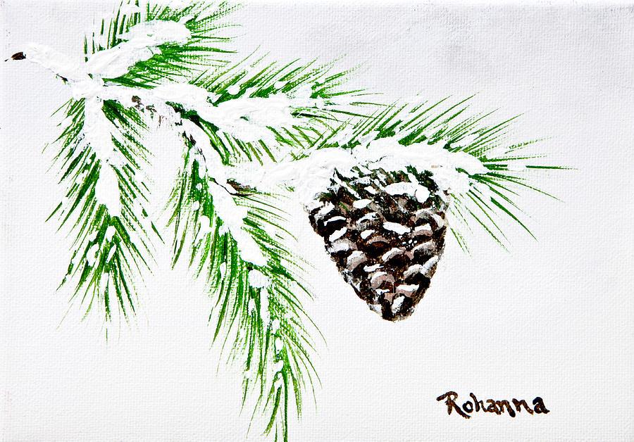 Pine Painting - Snowy Pine by Judy M Watts-Rohanna
