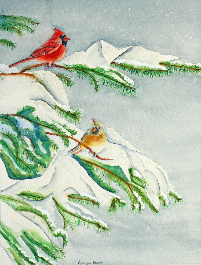 Cardinal Painting - Snowy Pines And Cardinals by Kathryn Duncan