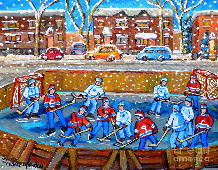 Hockey Painting - Snowy Rink Hockey Game Montreal Memories Winter Street Scene Painting Carole Spandau by Carole Spandau