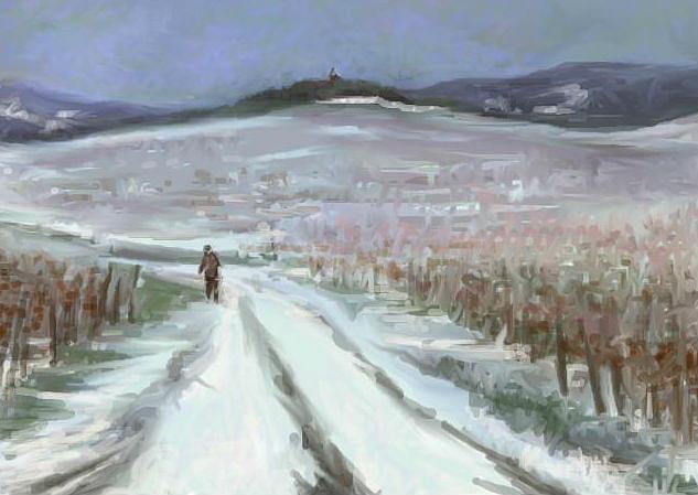 Snowy Road Painting by Tancau Emanuel