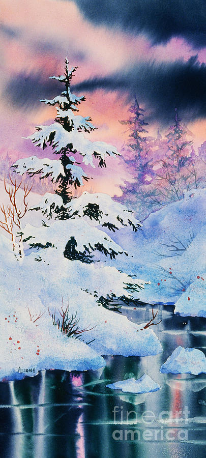 Snowy Spruce Painting By Teresa Ascone