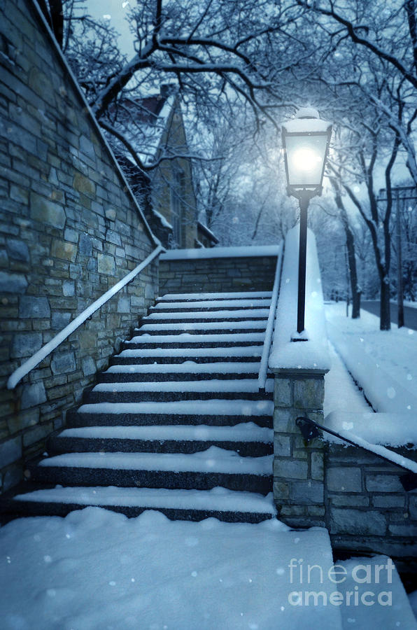 Exterior Stairway Lit By Old Light Post Photograph - Snowy Stairway by Jill Battaglia