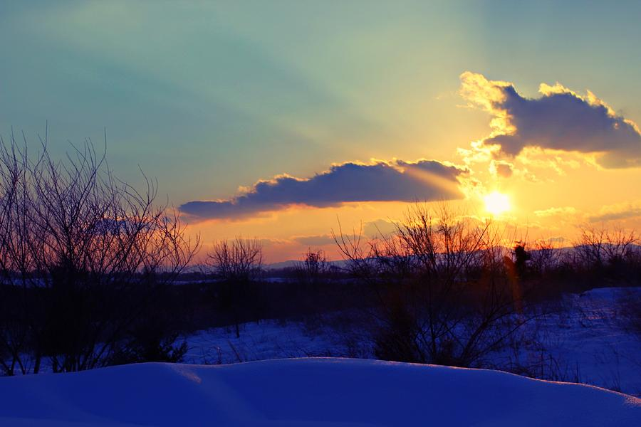 Snow Photograph - Snowy Sunset by Candice Trimble
