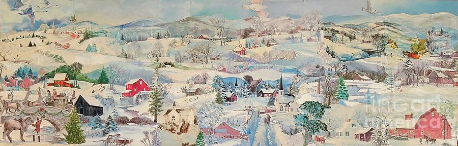 Snow Mixed Media - Snowy Village - SOLD by Judith Espinoza