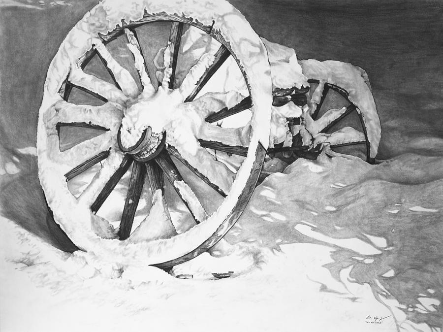 Wagon Drawing - Snowy Wheel  by Aaron Spong