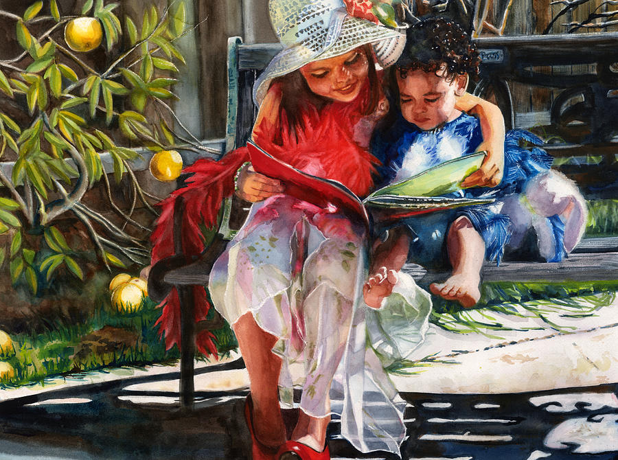 Sisters Painting - Snuggled by Maureen Dean