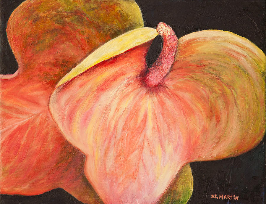 Anthuriums Painting - Snuggling Anthuriums by Annie St Martin