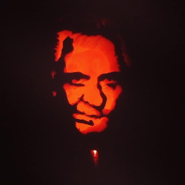 So Proud Of My Johnny Cash Pumpkin Photograph by Angela Davis