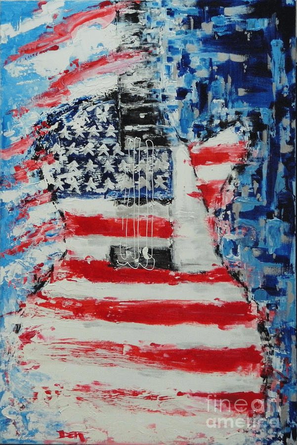 Guitar Painting - So Proudly We Hail by Dan Campbell