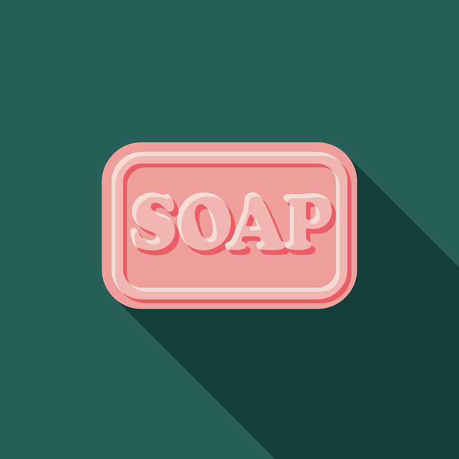 Soap Flat Design Cleaning Icon With Digital Art by Bortonia