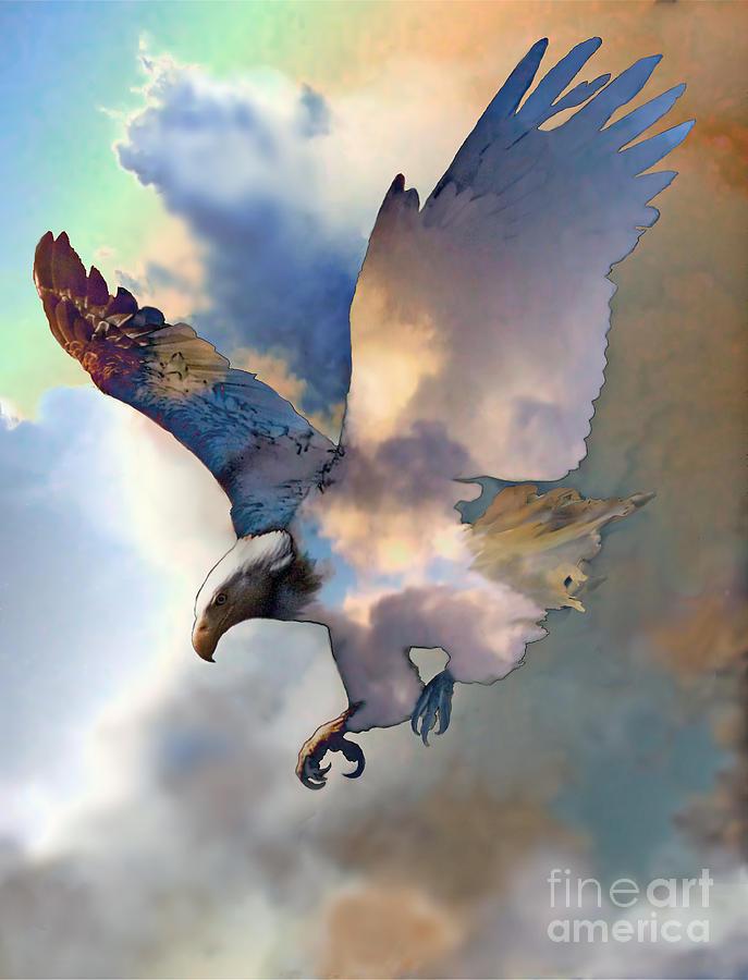 Eagle Mixed Media - Soaring by Ursula Freer