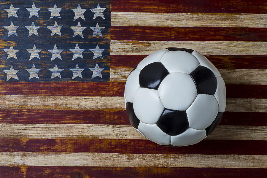 Soccer Photograph - Soccer Ball And Stars And Stripes by Garry Gay
