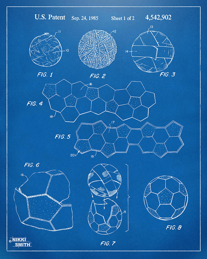 soccer ball construction artwork blueprint digital art by nikki
