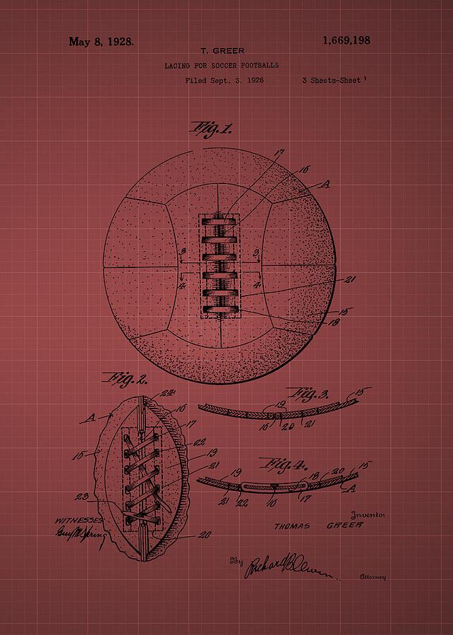 Soccer Ball Patent 1928 -  Burgundy Photograph
