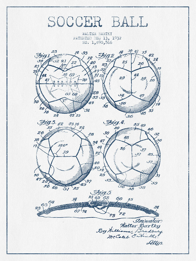 Soccer Ball Patent Drawing From 1932 - Blue Ink Digital Art