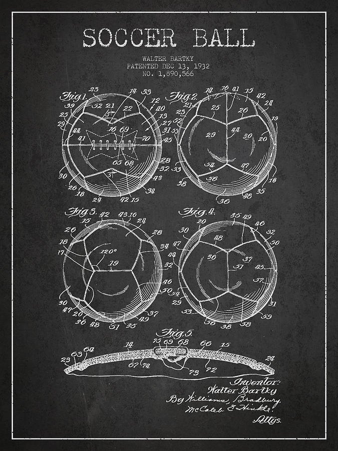 Soccer Ball Patent Drawing From 1932 - Dark Digital Art