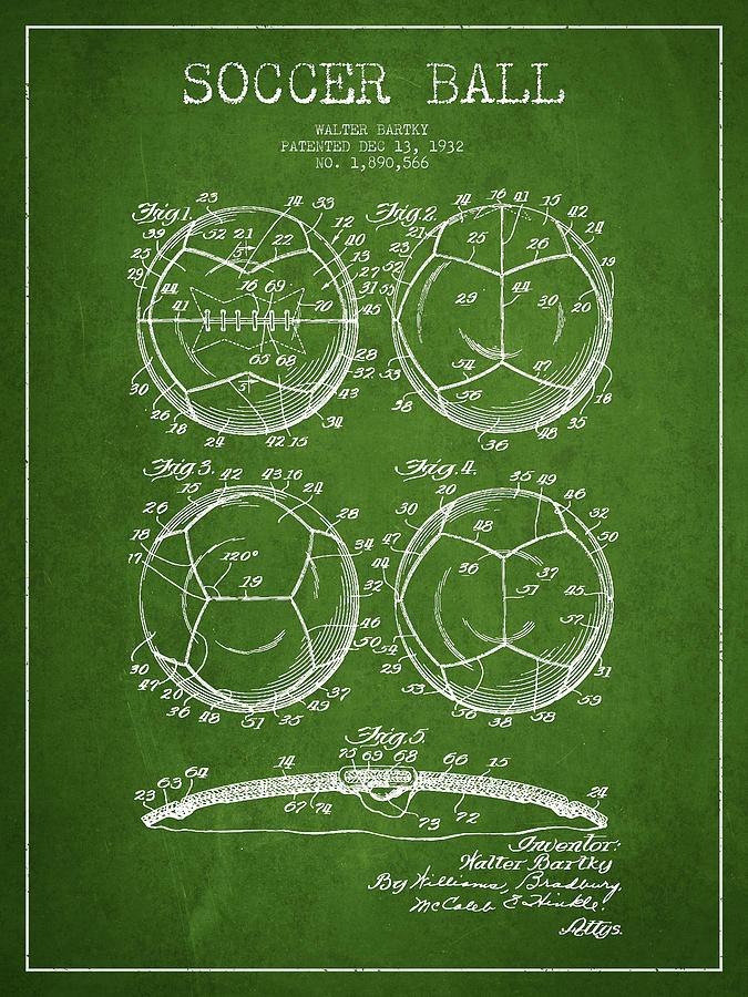 Soccer Ball Patent Drawing From 1932 - Green Digital Art
