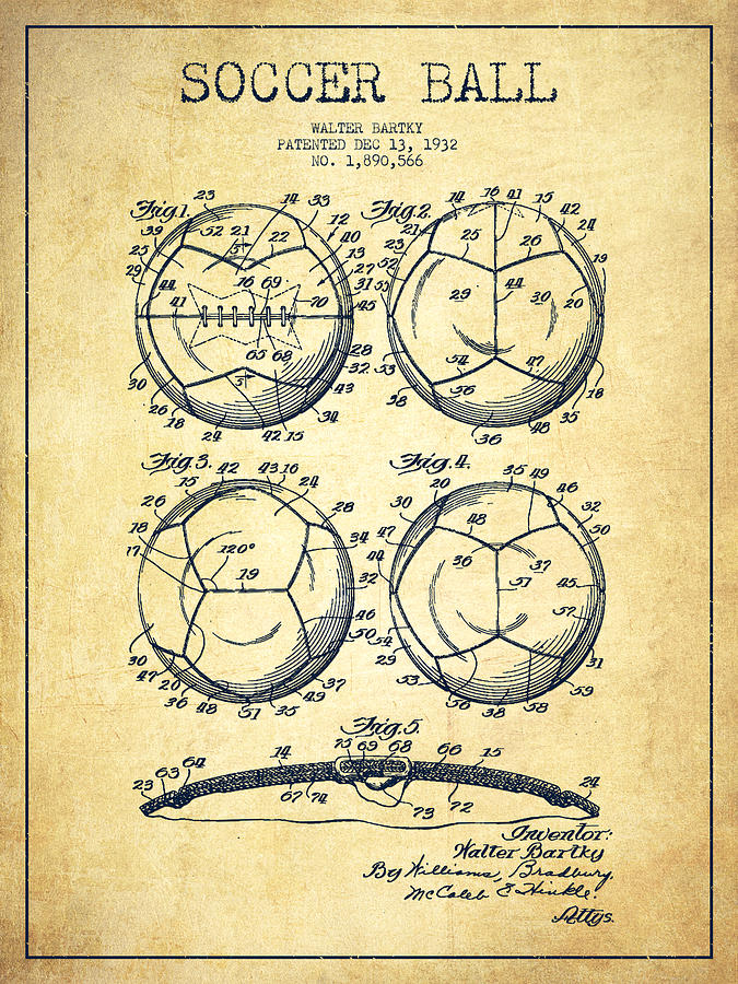 Soccer Ball Patent Drawing From 1932 Vintage Digital Art