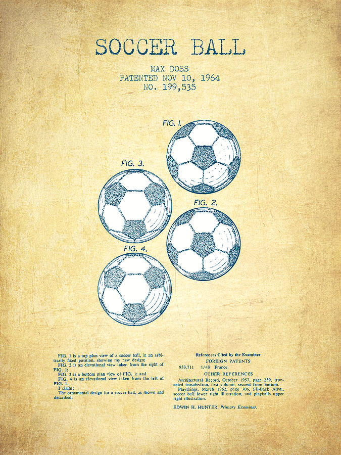 Soccer Ball Patent Drawing From 1964 - Vintage Paper Digital Art