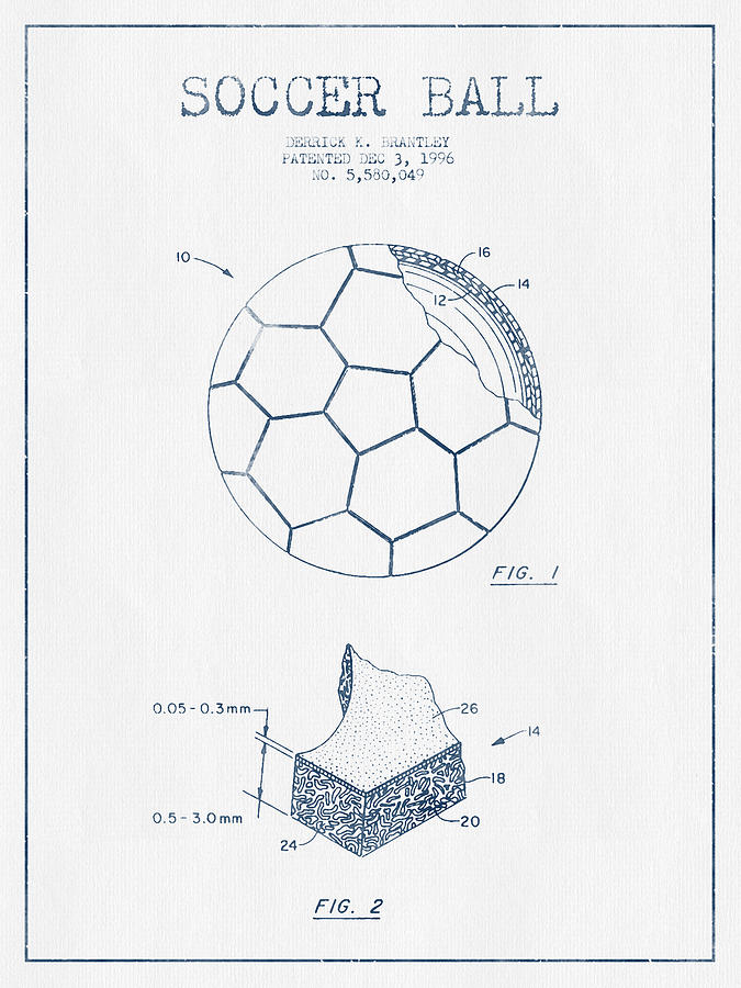 Soccer Ball Patent Drawing From 1996 - Blue Ink Digital Art