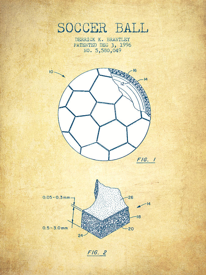 Soccer Ball Patent Drawing From 1996 - Vintage Paper Digital Art