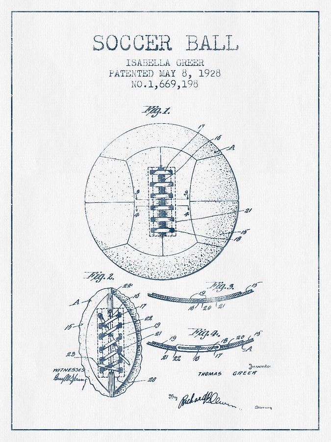 Soccer Ball Patent From 1928 - Blue Ink Digital Art