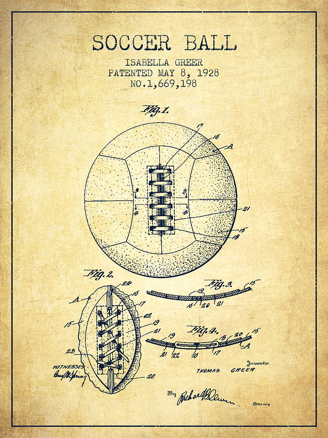 Soccer Ball Patent From 1928 - Vintage Digital Art