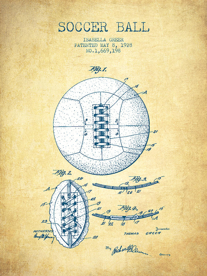 Soccer Ball Patent From 1928 - Vintage Paper Digital Art