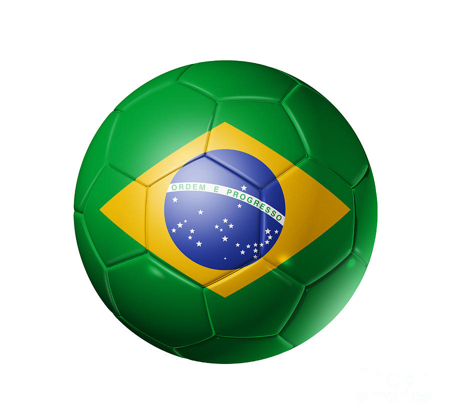 Soccer Football Ball With Brazil Flag Digital Art by ...