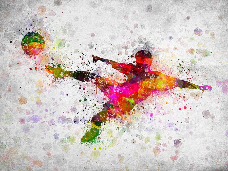 Soccer Player - Flying Kick Digital Art